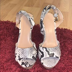 Express Snakeskin Open-Toed Wedges